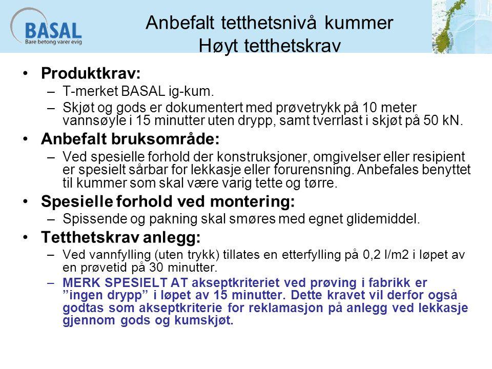Anbefalt tetthetsnivå kummer Høyt tetthetskrav Produktkrav: –T-merket BASAL ig-kum.