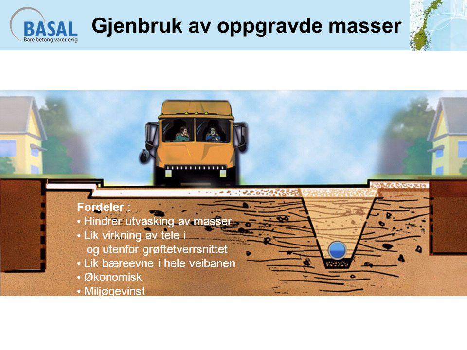 Gjenbruk av oppgravde masser Fordeler : Hindrer utvasking av masser Lik virkning av tele i og utenfor grøftetverrsnittet Lik bæreevne i hele veibanen Økonomisk Miljøgevinst