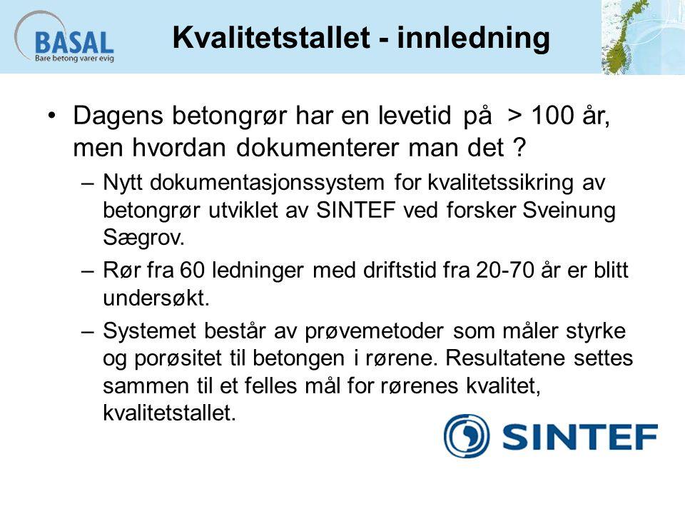 Kvalitetstallet - innledning Dagens betongrør har en levetid på > 100 år, men hvordan dokumenterer man det .