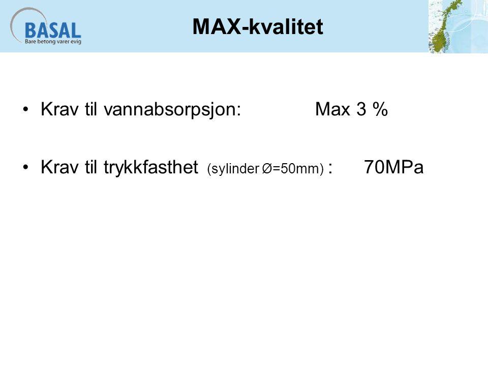 MAX-kvalitet Krav til vannabsorpsjon:Max 3 % Krav til trykkfasthet (sylinder Ø=50mm) :70MPa