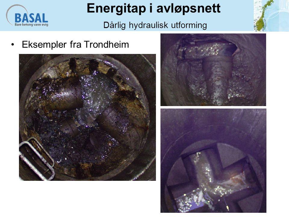 Energitap i avløpsnett Dårlig hydraulisk utforming Eksempler fra Trondheim