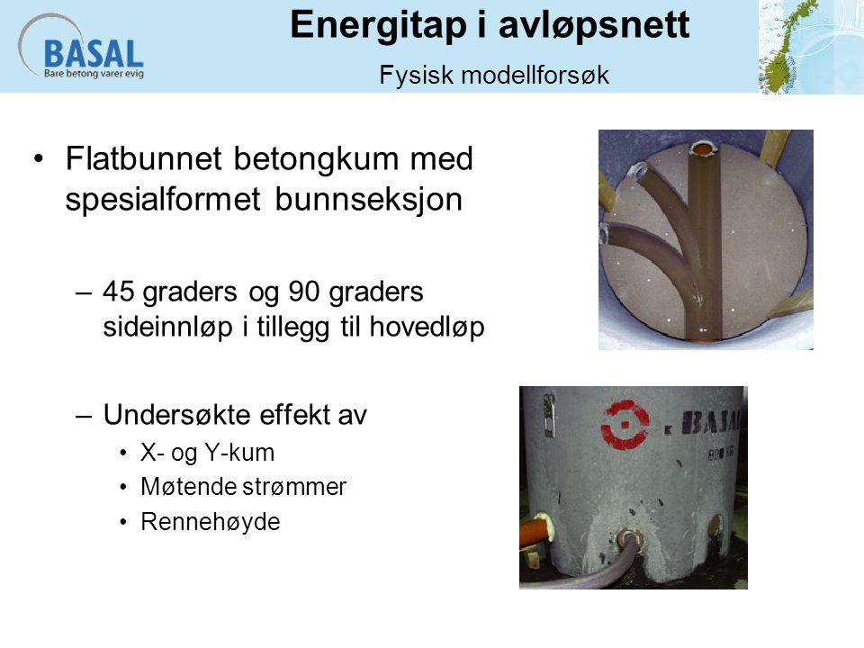 Energitap i avløpsnett Fysisk modellforsøk Flatbunnet betongkum med spesialformet bunnseksjon –45 graders og 90 graders sideinnløp i tillegg til hovedløp –Undersøkte effekt av X- og Y-kum Møtende strømmer Rennehøyde