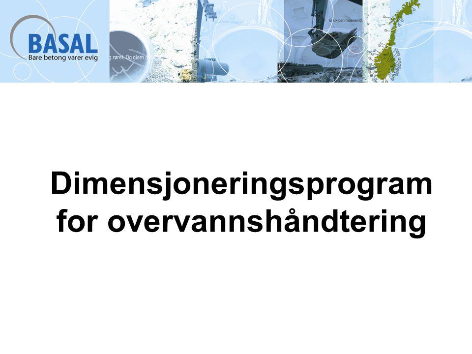 Dimensjoneringsprogram for overvannshåndtering