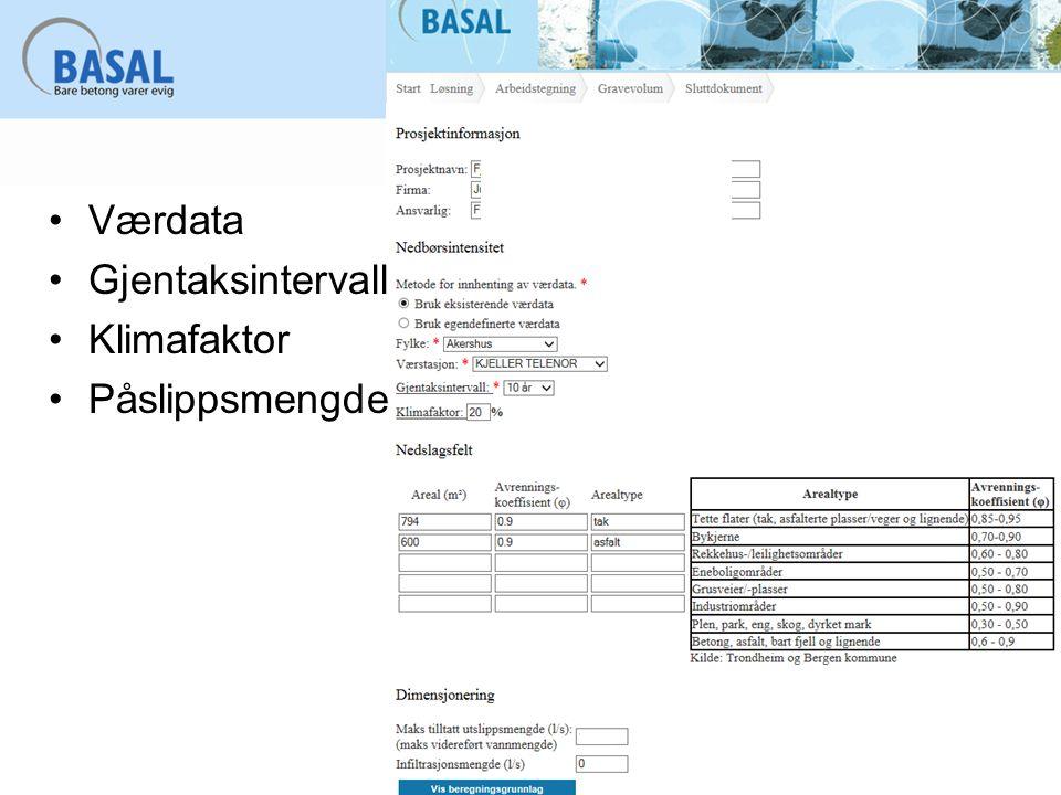 Valg av påslippsmengde Ta utgangspunkt i veileder for Oslo kommune