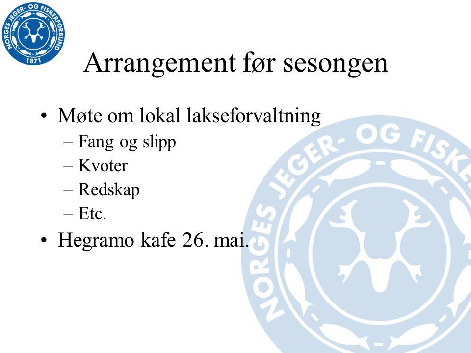 Arrangement før sesongen Møte om lokal lakseforvaltning –Fang og slipp –Kvoter –Redskap –Etc. Hegramo kafe 26. mai.