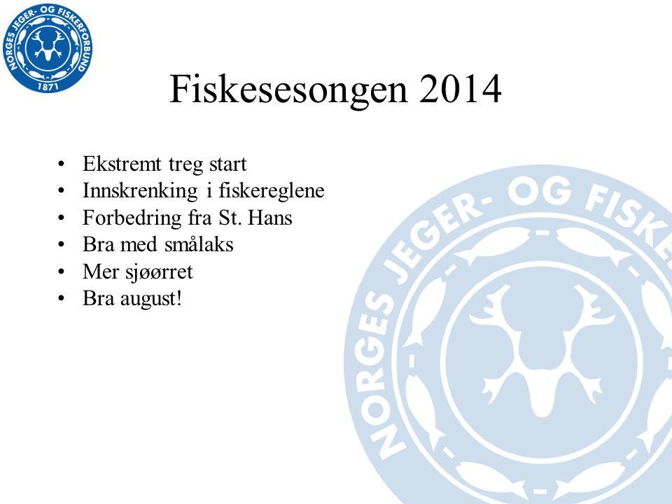 Fiskesesongen 2014 Ekstremt treg start Innskrenking i fiskereglene Forbedring fra St. Hans Bra med smålaks Mer sjøørret Bra august!
