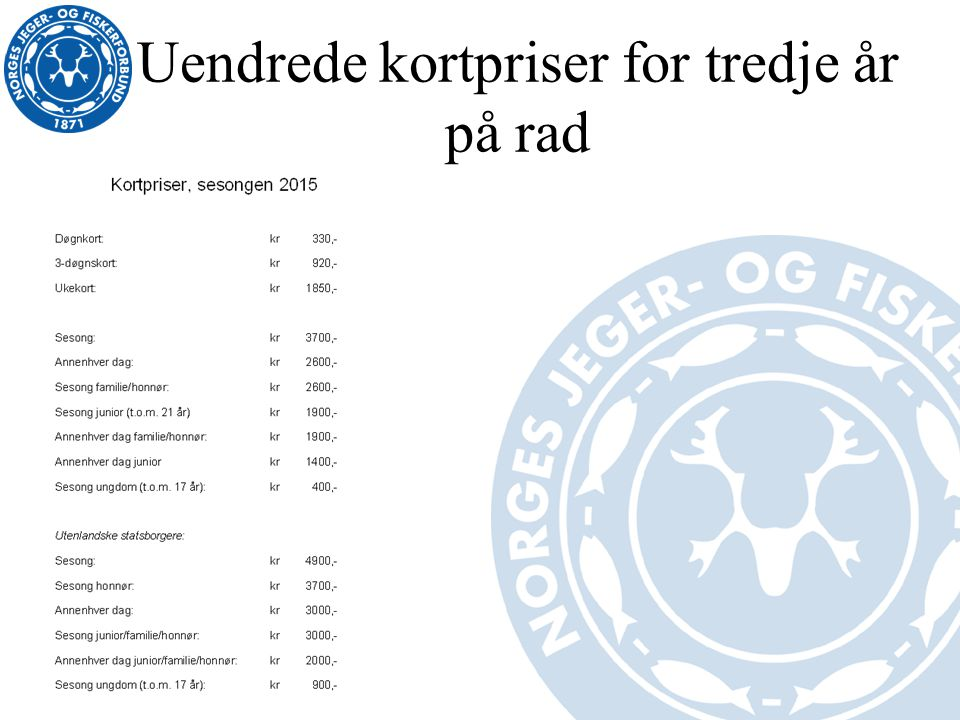 Uendrede kortpriser for tredje år på rad