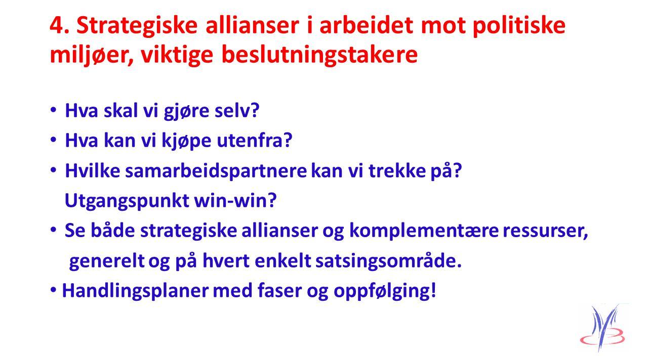 4. Strategiske allianser i arbeidet mot politiske miljøer, viktige beslutningstakere Hva skal vi gjøre selv? Hva kan vi kjøpe utenfra? Hvilke samarbei