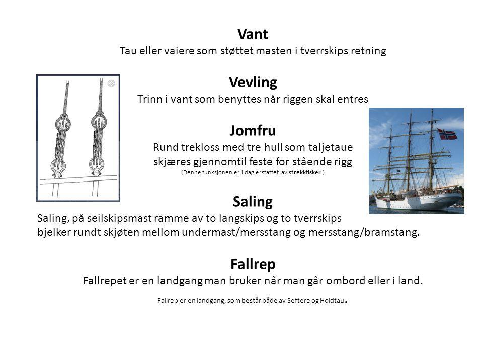 Vant Tau eller vaiere som støttet masten i tverrskips retning Vevling Trinn i vant som benyttes når riggen skal entres Jomfru Rund trekloss med tre hu