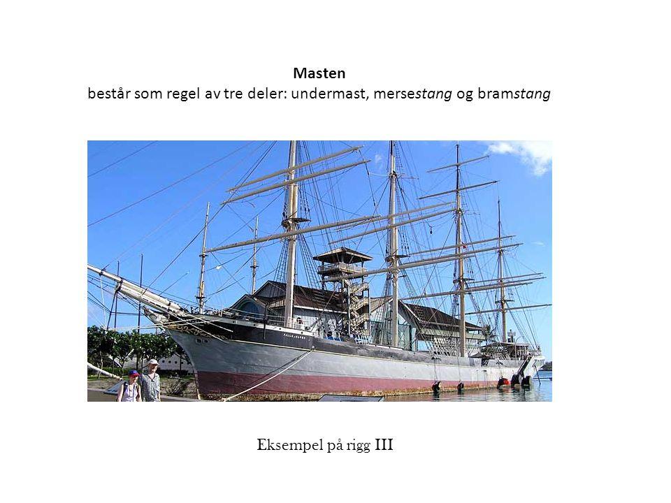 Masten består som regel av tre deler: undermast, mersestang og bramstang Eksempel på rigg III