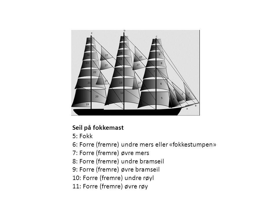 Seil på fokkemast 5: Fokk 6: Forre (fremre) undre mers eller «fokkestumpen» 7: Forre (fremre) øvre mers 8: Forre (fremre) undre bramseil 9: Forre (fre