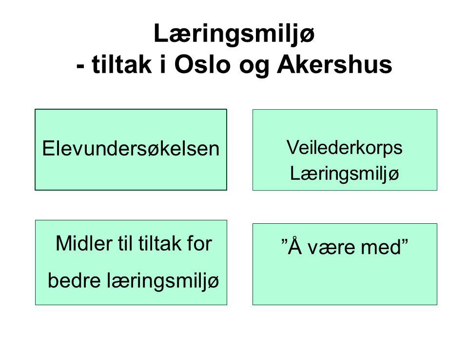 """Læringsmiljø - tiltak i Oslo og Akershus Elevundersøkelsen Veilederkorps Læringsmiljø """"Å være med"""" Midler til tiltak for bedre læringsmiljø"""