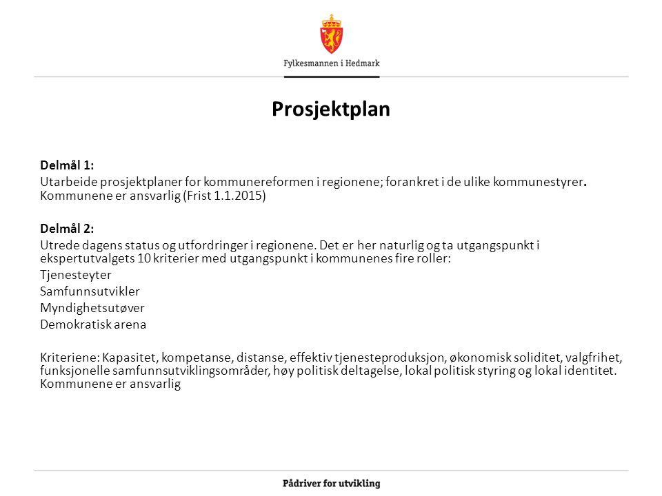 Prosjektplan Delmål 1: Utarbeide prosjektplaner for kommunereformen i regionene; forankret i de ulike kommunestyrer. Kommunene er ansvarlig (Frist 1.1