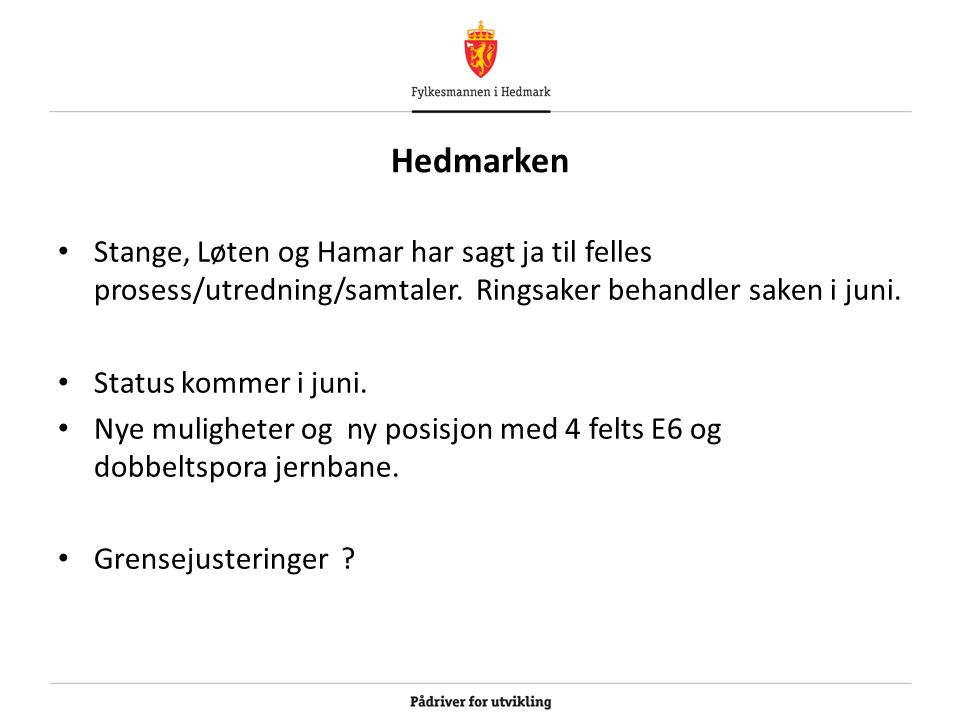 Hedmarken Stange, Løten og Hamar har sagt ja til felles prosess/utredning/samtaler. Ringsaker behandler saken i juni. Status kommer i juni. Nye muligh
