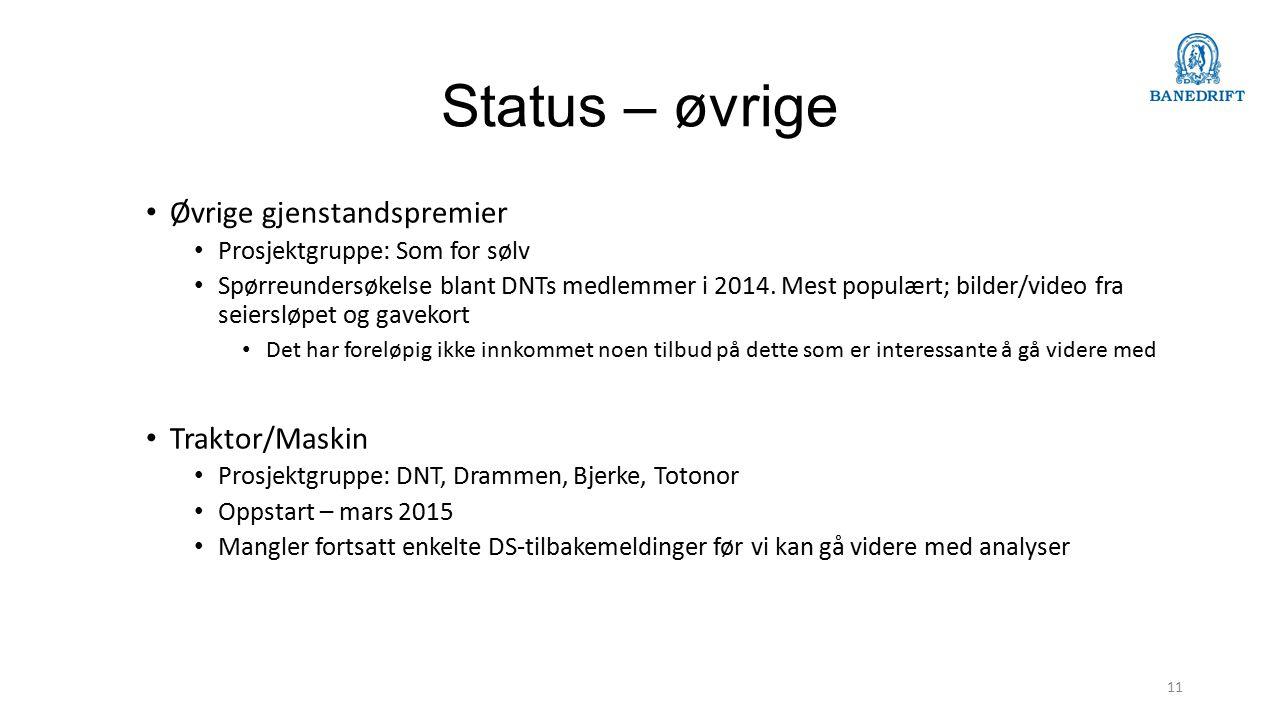 Status – øvrige Øvrige gjenstandspremier Prosjektgruppe: Som for sølv Spørreundersøkelse blant DNTs medlemmer i 2014.
