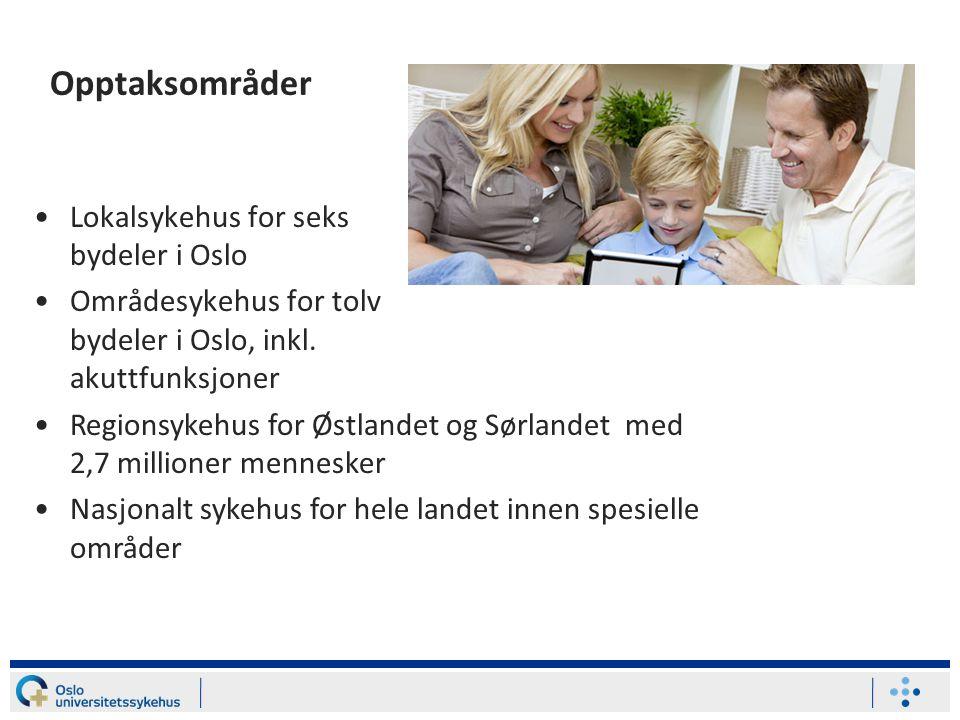 Opptaksområder Lokalsykehus for seks bydeler i Oslo Områdesykehus for tolv bydeler i Oslo, inkl. akuttfunksjoner Regionsykehus for Østlandet og Sørlan