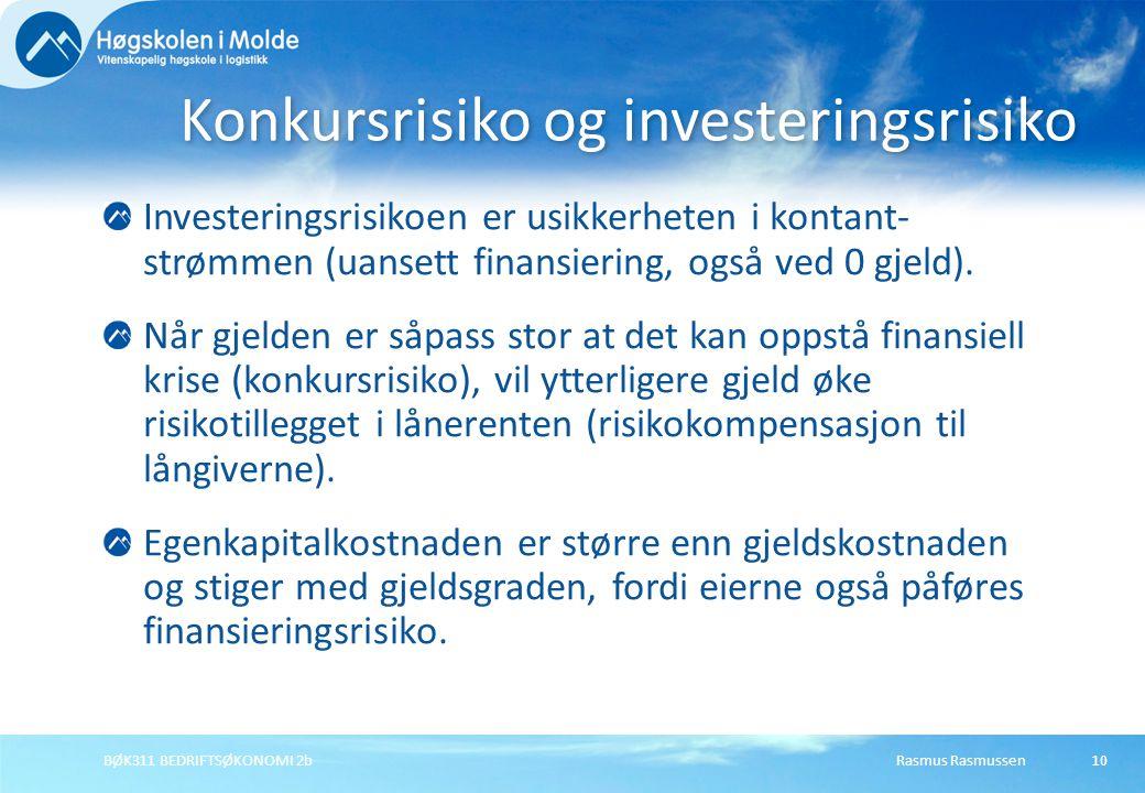 Rasmus RasmussenBØK311 BEDRIFTSØKONOMI 2b11 Finansieringsrisiko øker når gjeldsgraden øker Gearingeffekten: Bil på høyt gir i motbakke kveler ofte motoren.