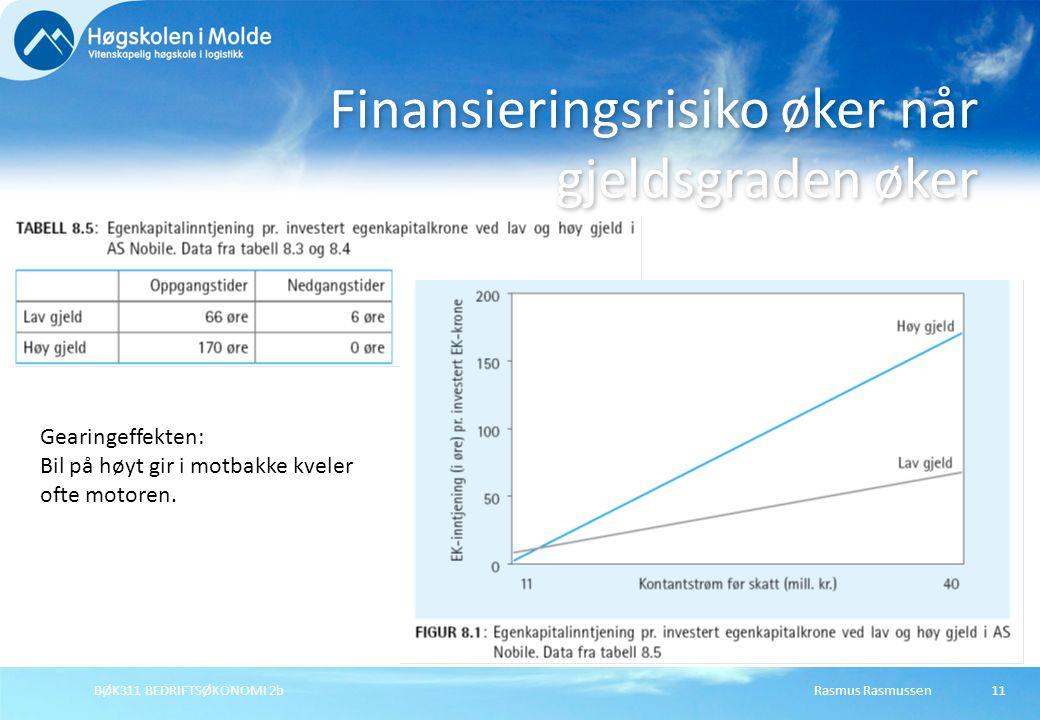 Rasmus RasmussenBØK311 BEDRIFTSØKONOMI 2b12 Investeringsrisiko Skyldes usikkerhet i kontantstrøm fra driften.