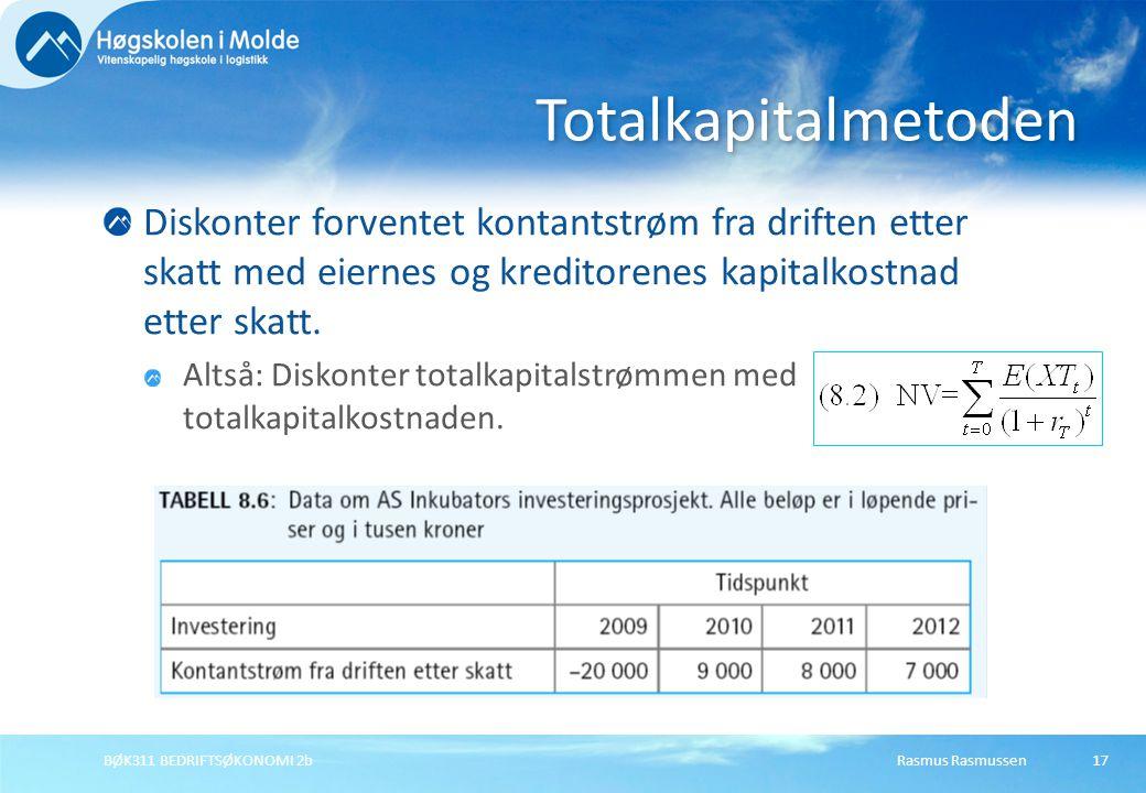 Rasmus RasmussenBØK311 BEDRIFTSØKONOMI 2b18 Totalkapitalmetoden Her: Egenkapitalkostnad 12 %; gjeldsrente 7 %; skattesats 28 %; gjeldsandel 60 %