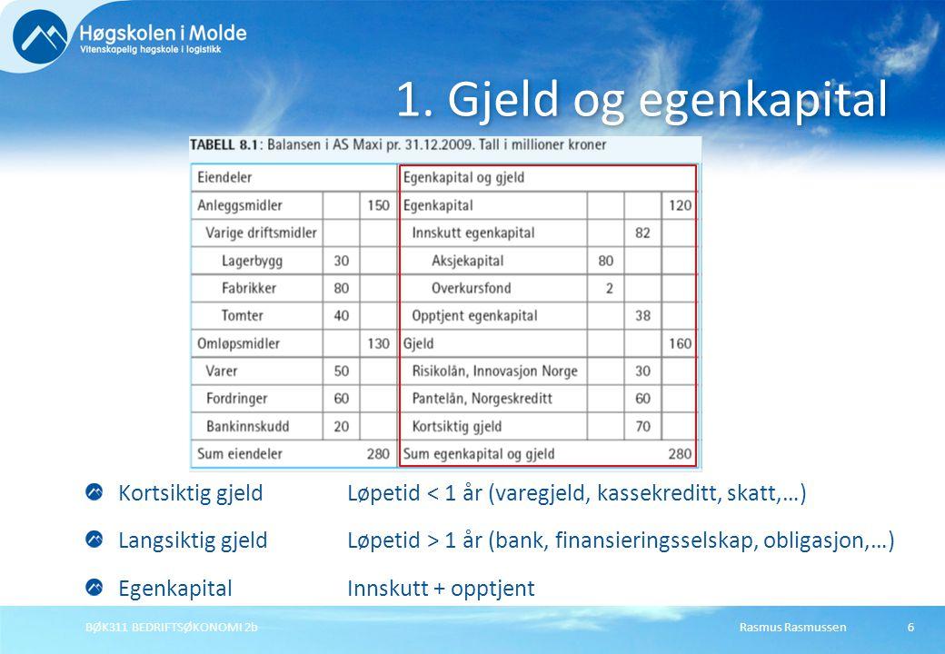 Rasmus RasmussenBØK311 BEDRIFTSØKONOMI 2b7 Bokverdi: Innskutt + opptjent (fra regnskapsbalansen) Markedsverdi: Antall aksjer  Kurs per aksje (fra aksjeomsetningen) Egenkapital: Bokverdi kontra markedsverdi