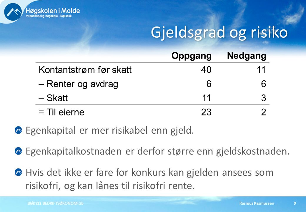 Rasmus RasmussenBØK311 BEDRIFTSØKONOMI 2b10 Investeringsrisikoen er usikkerheten i kontant- strømmen (uansett finansiering, også ved 0 gjeld).