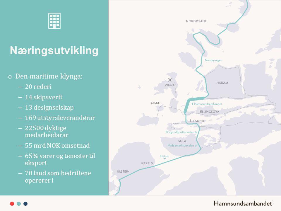 Næringsutvikling o Den maritime klynga: – 20 rederi – 14 skipsverft – 13 designselskap – 169 utstyrsleverandørar – 22500 dyktige medarbeidarar – 55 mr