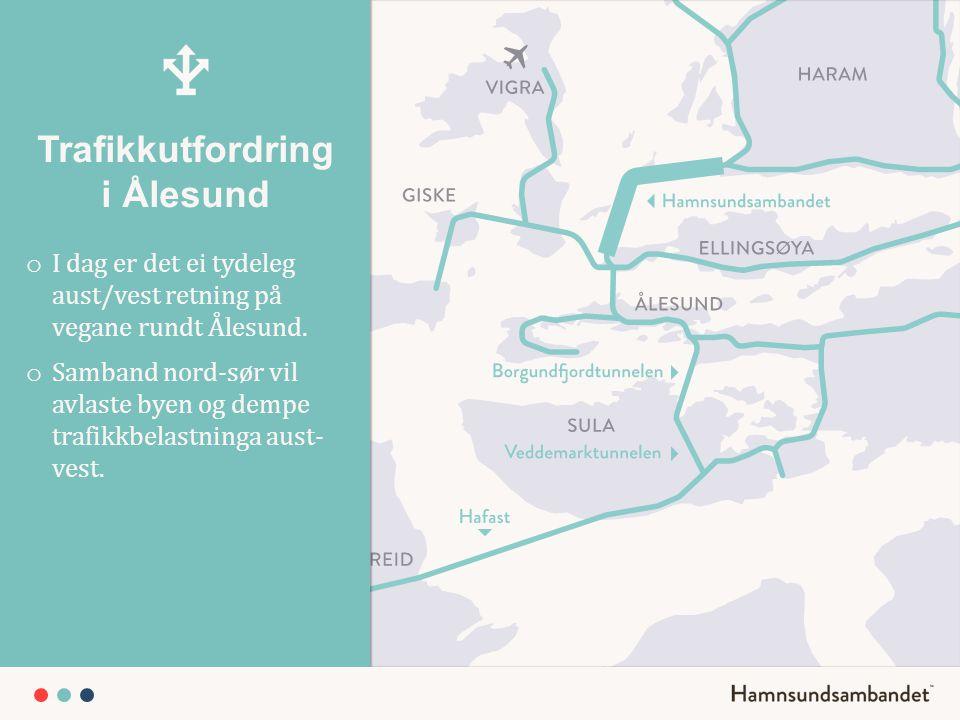 Trafikkutfordring i Ålesund o I dag er det ei tydeleg aust/vest retning på vegane rundt Ålesund. o Samband nord-sør vil avlaste byen og dempe trafikkb