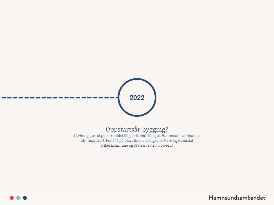 2022 Oppstartsår bygging? (Avhengig av at planarbeidet følgjer framdrift og at Hamnsundsambandet blir finansiert. For å få på plass finansieringa må M