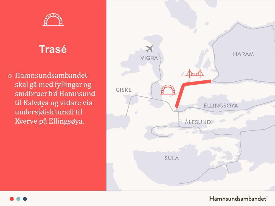 Trasé o Hamnsundsambandet skal gå med fyllingar og småbruer frå Hamnsund til Kalvøya og vidare via undersjøisk tunell til Kverve på Ellingsøya.