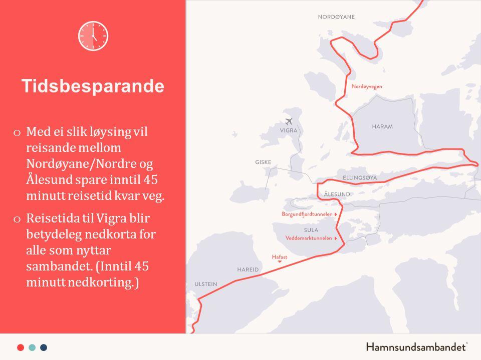 Tidsbesparande o Med ei slik løysing vil reisande mellom Nordøyane/Nordre og Ålesund spare inntil 45 minutt reisetid kvar veg. o Reisetida til Vigra b