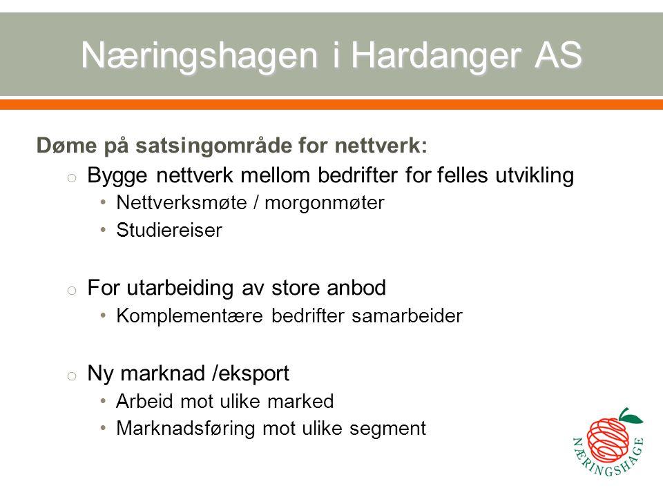 Næringshagen i Hardanger AS Døme på satsingområde for nettverk: o Bygge nettverk mellom bedrifter for felles utvikling Nettverksmøte / morgonmøter Stu