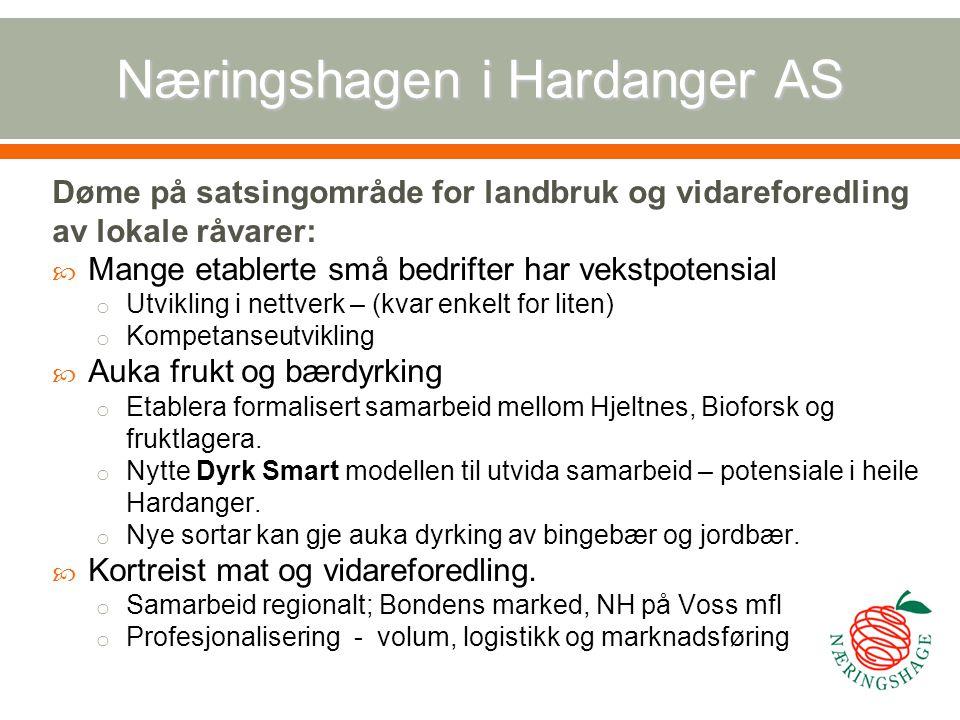 Næringshagen i Hardanger AS Døme på satsingområde for landbruk og vidareforedling av lokale råvarer:  Mange etablerte små bedrifter har vekstpotensia