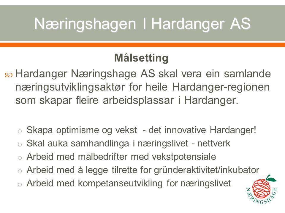 Næringshagen I Hardanger AS Målsetting  Hardanger Næringshage AS skal vera ein samlande næringsutviklingsaktør for heile Hardanger-regionen som skapa