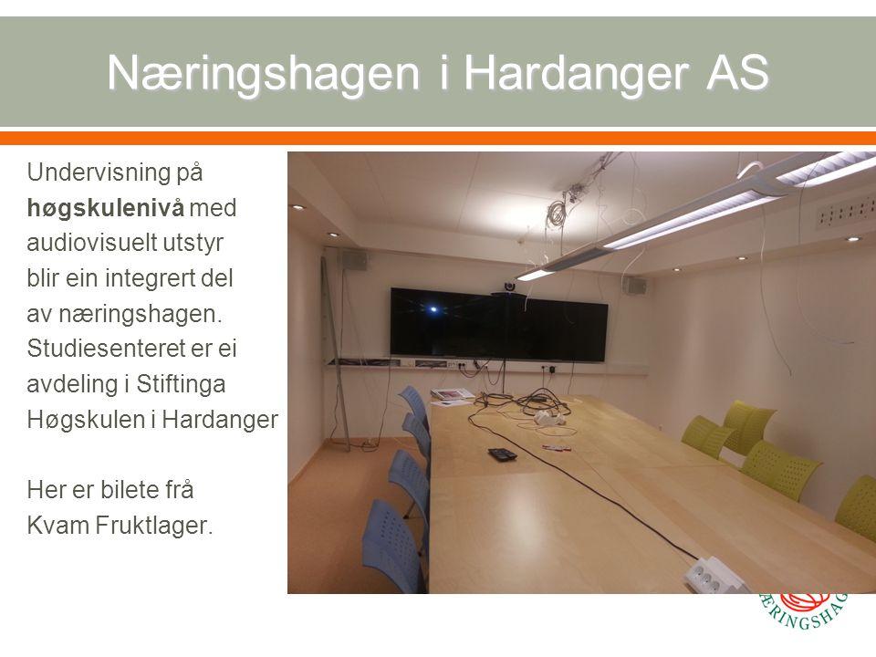 Næringshagen i Hardanger AS Undervisning på høgskulenivå med audiovisuelt utstyr blir ein integrert del av næringshagen. Studiesenteret er ei avdeling