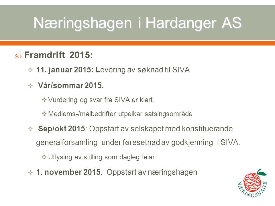 Næringshagen i Hardanger AS  Framdrift 2015:  11. januar 2015: Levering av søknad til SIVA  Vår/sommar 2015.  Vurdering og svar frå SIVA er klart.