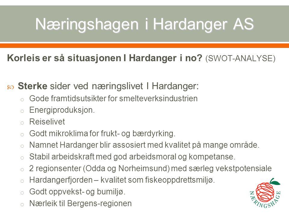 Næringshagen i Hardanger AS Korleis er så situasjonen I Hardanger i no? (SWOT-ANALYSE)  Sterke sider ved næringslivet I Hardanger: o Gode framtidsuts
