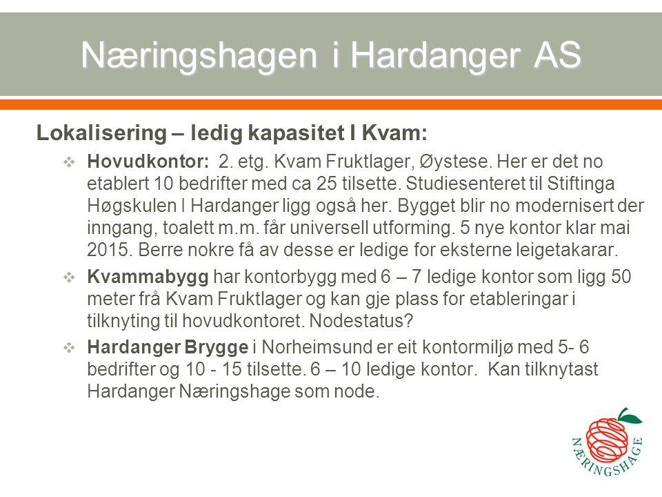 Næringshagen i Hardanger AS Lokalisering – ledig kapasitet I Kvam:  Hovudkontor: 2. etg. Kvam Fruktlager, Øystese. Her er det no etablert 10 bedrifte