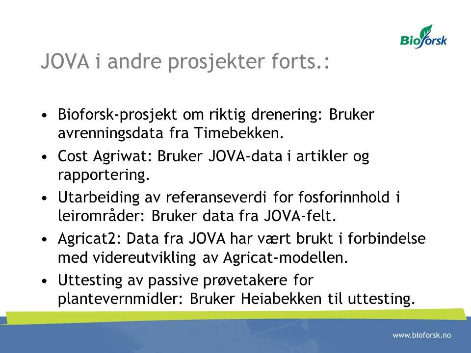 JOVA i andre prosjekter forts.: Bioforsk-prosjekt om riktig drenering: Bruker avrenningsdata fra Timebekken. Cost Agriwat: Bruker JOVA-data i artikler