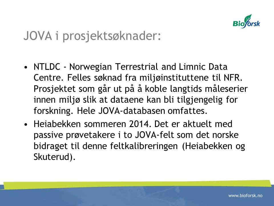 JOVA i prosjektsøknader: NTLDC - Norwegian Terrestrial and Limnic Data Centre. Felles søknad fra miljøinstituttene til NFR. Prosjektet som går ut på å