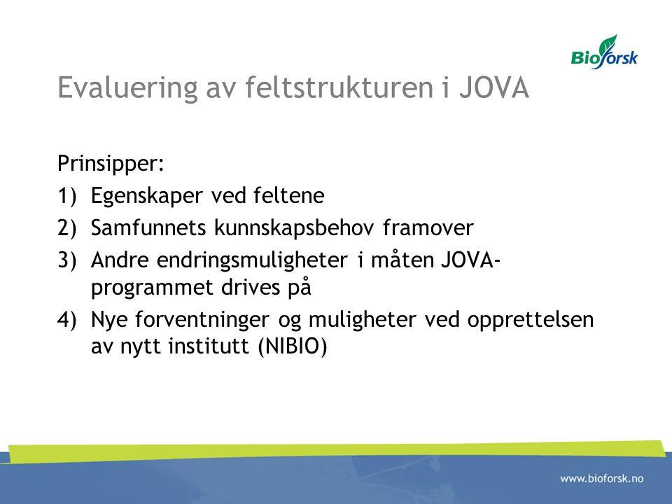 Evaluering av feltstrukturen i JOVA Prinsipper: 1)Egenskaper ved feltene 2)Samfunnets kunnskapsbehov framover 3)Andre endringsmuligheter i måten JOVA-
