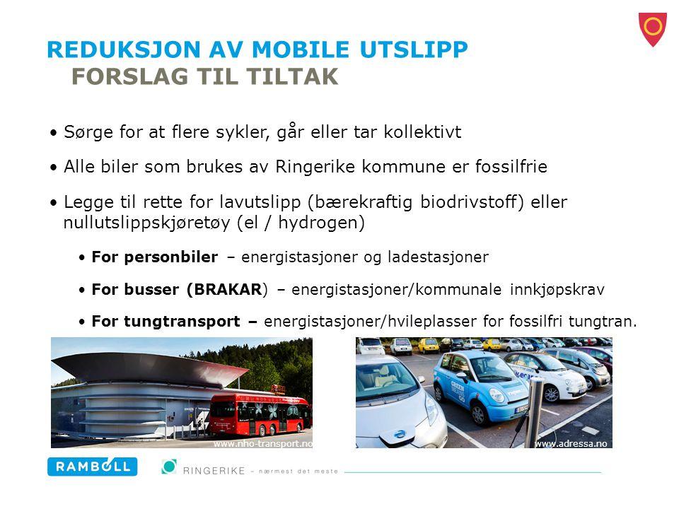 REDUKSJON AV MOBILE UTSLIPP FORSLAG TIL TILTAK Sørge for at flere sykler, går eller tar kollektivt Alle biler som brukes av Ringerike kommune er fossi