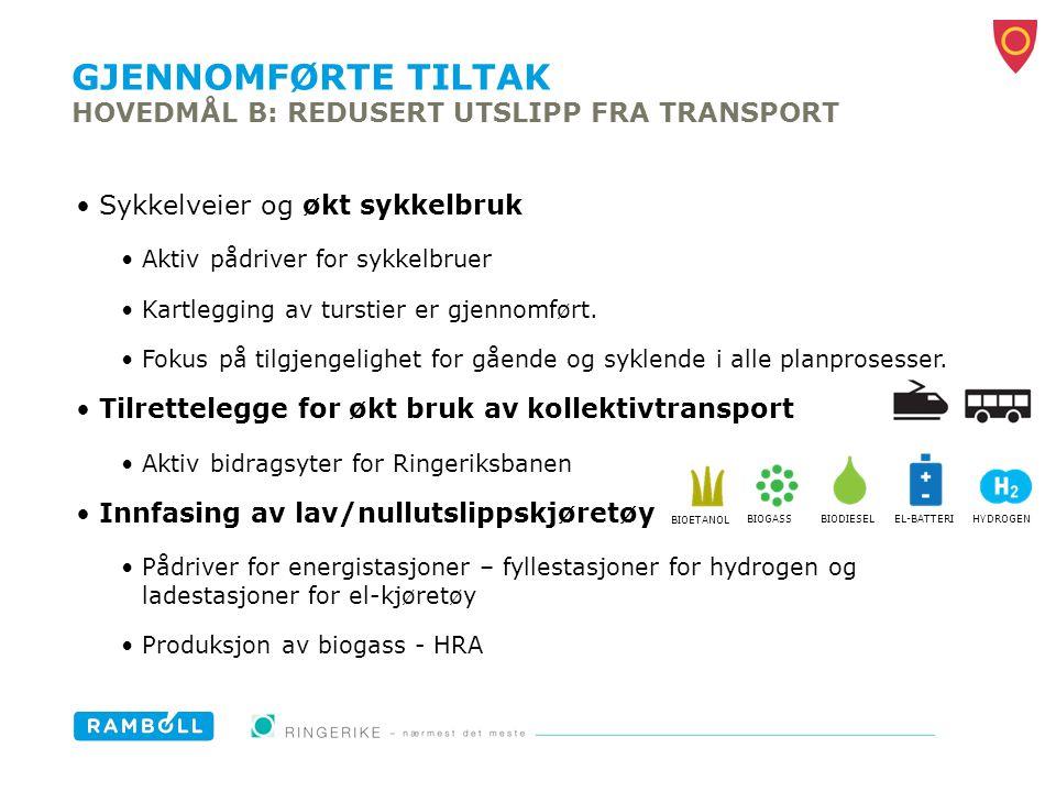 GJENNOMFØRTE TILTAK HOVEDMÅL B: REDUSERT UTSLIPP FRA TRANSPORT Sykkelveier og økt sykkelbruk Aktiv pådriver for sykkelbruer Kartlegging av turstier er
