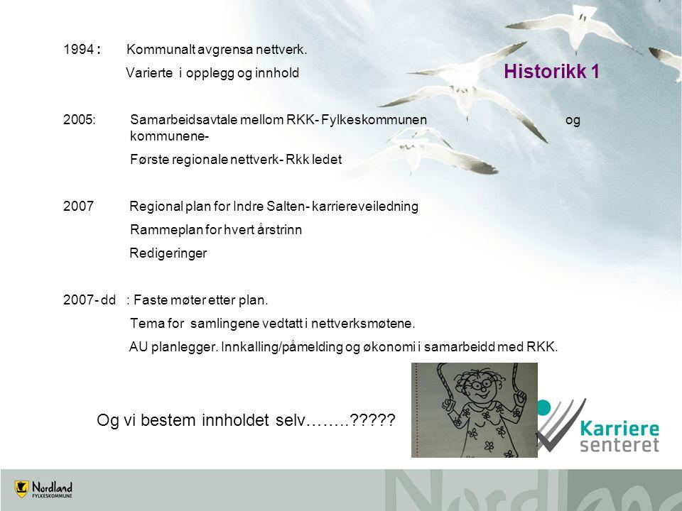 Historikk 1 1994 : Kommunalt avgrensa nettverk. Varierte i opplegg og innhold 2005: Samarbeidsavtale mellom RKK- Fylkeskommunen og kommunene- Første r