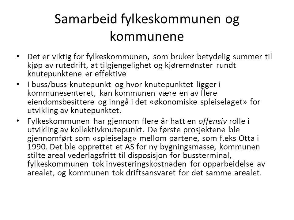 Samarbeid fylkeskommunen og kommunene Det er viktig for fylkeskommunen, som bruker betydelig summer til kjøp av rutedrift, at tilgjengelighet og kjøre