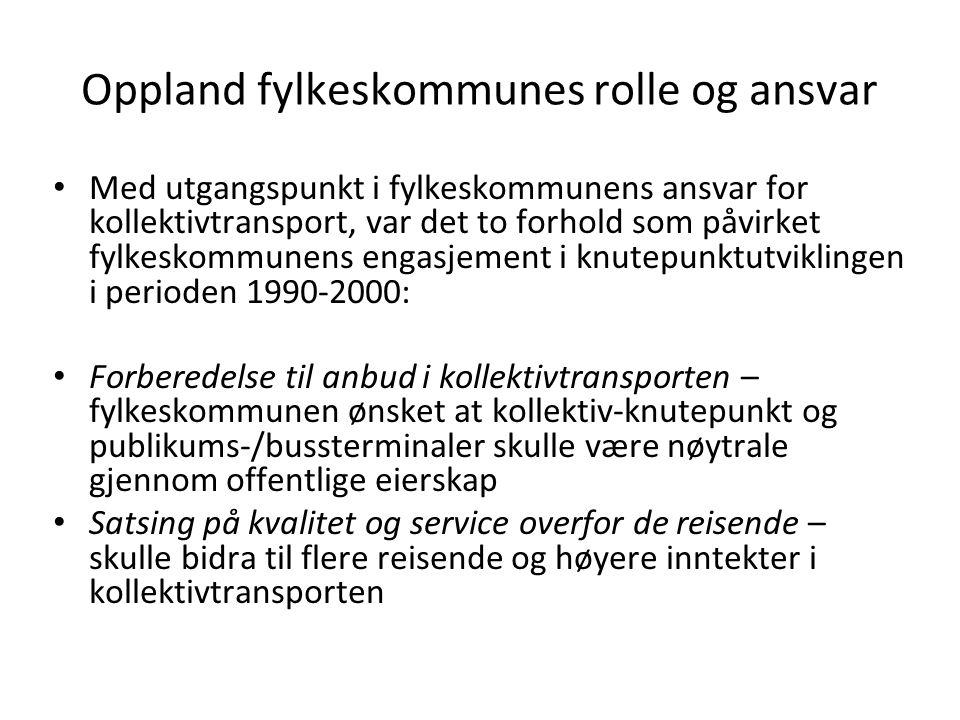 Oppland fylkeskommunes rolle og ansvar Med utgangspunkt i fylkeskommunens ansvar for kollektivtransport, var det to forhold som påvirket fylkeskommune