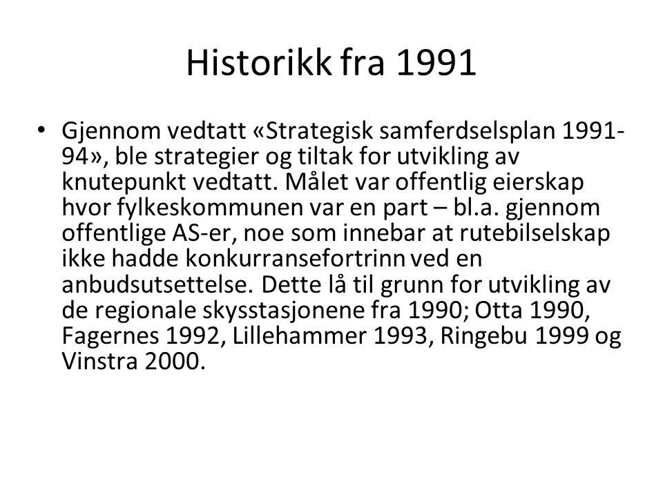 Historikk fra 1991 Gjennom vedtatt «Strategisk samferdselsplan 1991- 94», ble strategier og tiltak for utvikling av knutepunkt vedtatt. Målet var offe