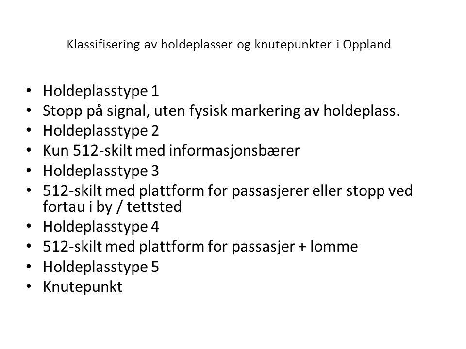 Klassifisering av holdeplasser og knutepunkter i Oppland Holdeplasstype 1 Stopp på signal, uten fysisk markering av holdeplass. Holdeplasstype 2 Kun 5