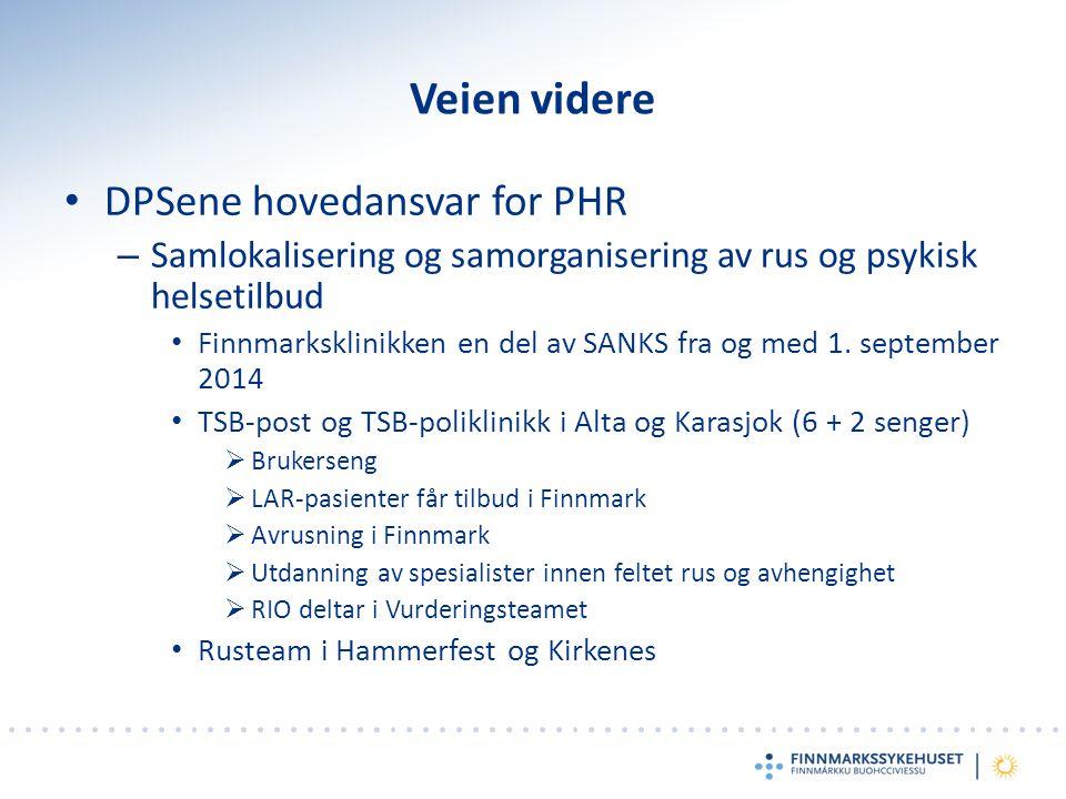 Veien videre DPSene hovedansvar for PHR – Samlokalisering og samorganisering av rus og psykisk helsetilbud Finnmarksklinikken en del av SANKS fra og med 1.