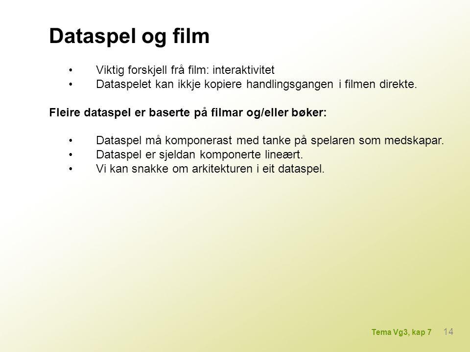 Viktig forskjell frå film: interaktivitet Dataspelet kan ikkje kopiere handlingsgangen i filmen direkte. Fleire dataspel er baserte på filmar og/eller
