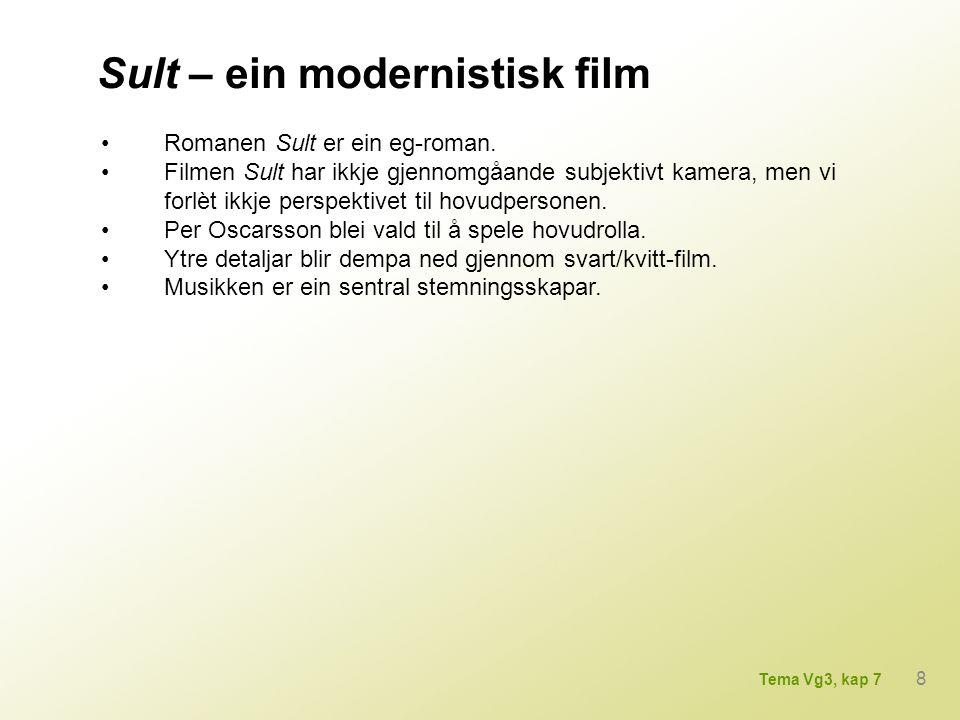 Sult – ein modernistisk film Romanen Sult er ein eg-roman. Filmen Sult har ikkje gjennomgåande subjektivt kamera, men vi forlèt ikkje perspektivet til